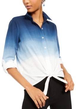 INC International Concepts Inc Plus Size Cotton Ombre Tie-Front Shirt, Created for Macy's