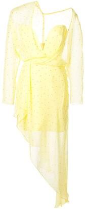 Mason by Michelle Mason Polka Dot Asymmetric Dress