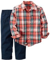 Carter's Baby Boy Plaid Shirt & Solid Pants Set
