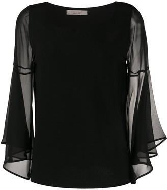 D-Exterior Sheer Sleeve Silk Blouse