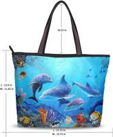 Yochoice Women's School Handbag Shoulder Bags,Cute Dolphin,Tote Bag L