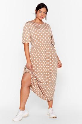 Nasty Gal Womens You've Totally Dot This Plus Midi Dress - Mocha