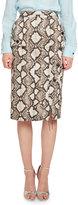 Altuzarra Curry Python-Print Pencil Skirt, Natural