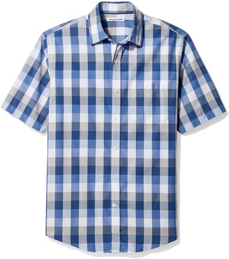 Amazon Essentials Regular-Fit Short-Sleeve Check Shirt Blue/Grey) Small