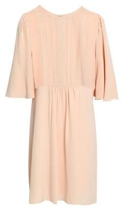 Vanessa Bruno Lace-trimmed Gathered Silk Crepe De Chine Dress