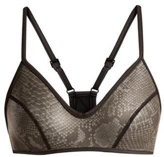 Dos Gardenias - Wild Honey V-neck Neoprene Bikini Top - Grey Multi