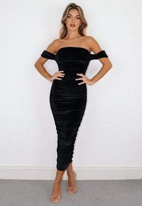 Missguided Black Velvet Bardot Ruched Midaxi Dress