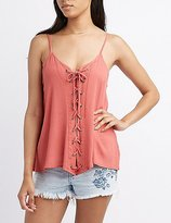 Charlotte Russe Gauze Lace-Up Tank Top