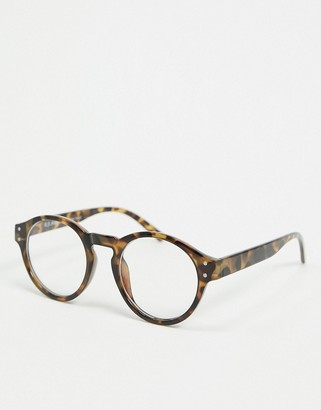 A. J. Morgan AJ Morgan round sunglasses in tortoise shell with clear lens