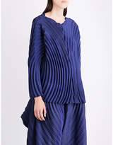 Issey Miyake Ladies Navy Draped Ring Pleated Top