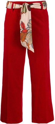 Cambio Scarf Belt Cropped Trousers