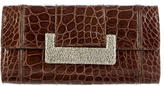 Judith Leiber Embellished Crocodile Clutch
