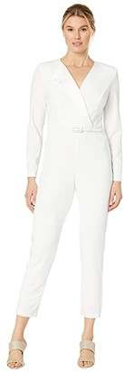 Adrianna Papell Tuxedo Jumpsuit with Satin (Ivory) Women's Jumpsuit & Rompers One Piece