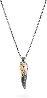 John Hardy Classic Chain 18K Yellow Gold & Silver Box Chain Pendant Necklace