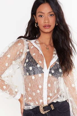 Nasty Gal Womens The Lace is on Floral Sheer Shirt - White