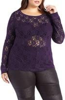 Plus Size Women's Addition Elle Love And Legend Sheer Lace Sweatshirt
