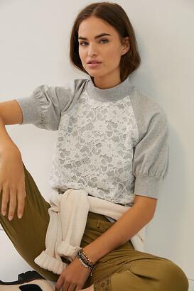Anthropologie Greta Lace Sweatshirt Top By in Grey Size XS