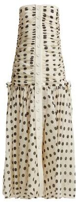 Zimmermann Corsage Ruched Polka-dot Linen-blend Dress - Womens - Black White