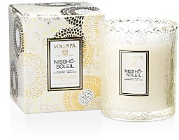 Voluspa Japonica Nissho Soleil Embossed Glass Scalloped Edge Candle