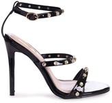 Linzi THRILLER - Black Patent Diamante Studded Embellished Stiletto Heel