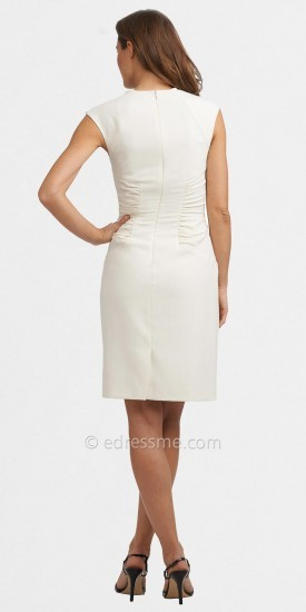 Adrianna Papell White Side Ruched Day Dresses