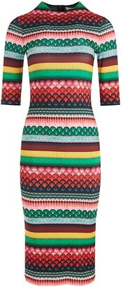 Alice + Olivia Delora Multi-Stripe Midi Dress