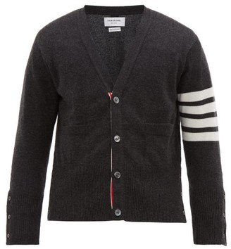 Thom Browne Four Bar Intarsia Stripe Cashmere Cardigan - Mens - Dark Grey