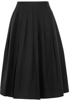 Vince Pleated Cotton-poplin Skirt - Black