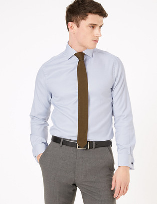 Marks and Spencer Tailored Fit Pure Cotton Textured Shirt