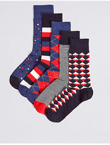 M&s Collection 5 Pairs Of Cotton Rich Assorted Socks