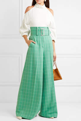 Sara Battaglia Belted Checked Crepe Wide-leg Pants - Green