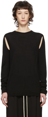 Rick Owens Black Wool Cape Sleeve Crewneck Sweater