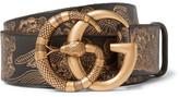 Gucci 4cm Black Embossed Leather Belt