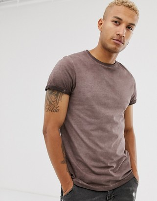 Asos Design DESIGN t-shirt with roll sleeve in pigment wash in brown