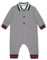 Gucci Baby's Long-Sleeve Webbed Cotton Sleepsuit