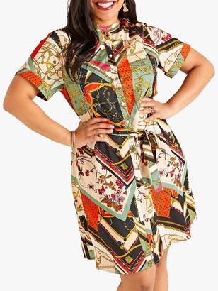 Yumi Curves Chain Print Shirt Dress, Multi