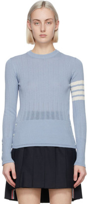Thom Browne Blue Fine Mesh Rib 4-Bar Sweater