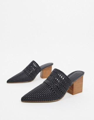 ASOS DESIGN Sienna heeled mules in black weave