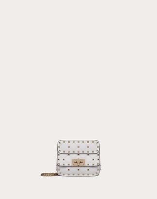 Valentino Micro Rockstud Spike Nappa Leather Bag Women Optic White Lambskin 100% OneSize