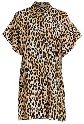 Alice + Olivia Jude Ruffle-Sleeve Leopard Shirtdress