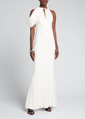 Alexander McQueen Crystal-Embellished Silk Trumpet Gown