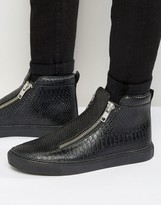Asos Zip Sneakers in Black Snake With Chunky Sole
