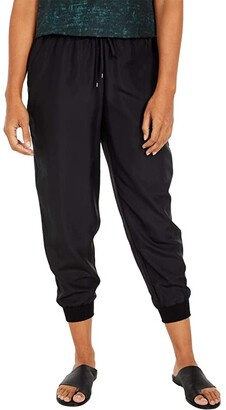 Eileen Fisher Petite Ankle Slouch Pants with Knit Cuff (Black) Women's Casual Pants