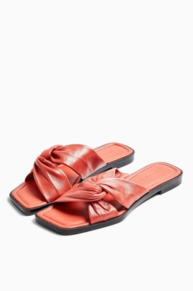 Topshop PACIFIC Coral Leather Twist Sandals