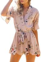 XWDA Women's Jumpsuit Cotton Floral Print Summer Beach Boho Short Romper Playsuit