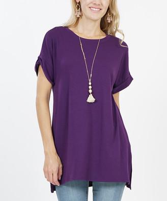 Lydiane Women's Tunics DK - Dark Purple Crewneck Roll-Sleeve Side-Slit Tunic - Women