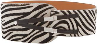 Maison Vaincourt Zebra-Print Calf Hair Waist Belt