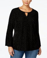 Style&Co. Style & Co. Plus Size Velvet Lantern-Sleeve Top, Only at Macy's