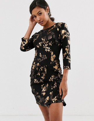 Little Mistress floral three quarter bodycon dress