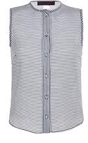 Martin Grant Cotton Silk Blue Striped Sleeveless Shirt